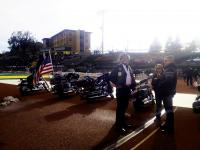 The bikes are ready to roar as the Black Hills State University Yellow Jacket football team enter the field.