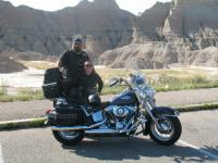 John and Donna Nelson taking a picture break in the Badlands of South Dakota.