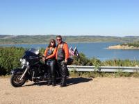 Fred and Micheline Nelson taking a break overlooking the Missouri River near Platte, SD.