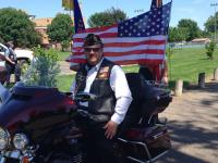 Fred Nelson is ready to get the parade going...  It was a hot and humid day.